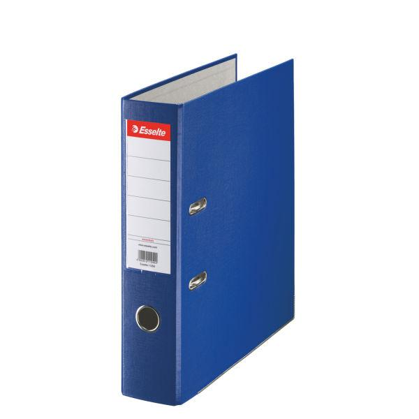 Biblioraft ESSELTE Economy, A4, plastifiat PP, margine metalica, 75 mm - albastru 0