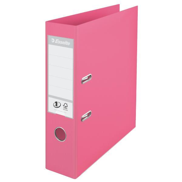 Biblioraft ESSELTE No. 1 Power, A4, plastifiat PP/PP, margine metalica, 75 mm - roz 0