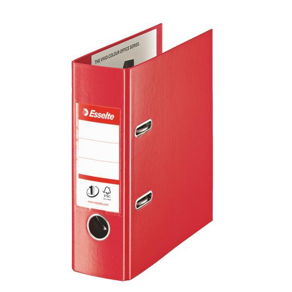 Biblioraft ESSELTE No. 1 Power, A5, plastifiat PP/PP, margine metalica, 75 mm - Vivida rosu [0]