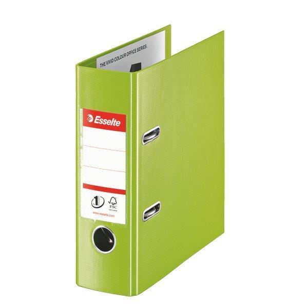 Biblioraft ESSELTE No. 1 Power, A5, plastifiat PP/PP, margine metalica, 75 mm - Vivida verde [0]