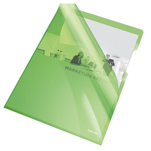 Mapa de protectie ESSELTE, A4, cristal, 150 microni, 25 buc/set - verde [0]