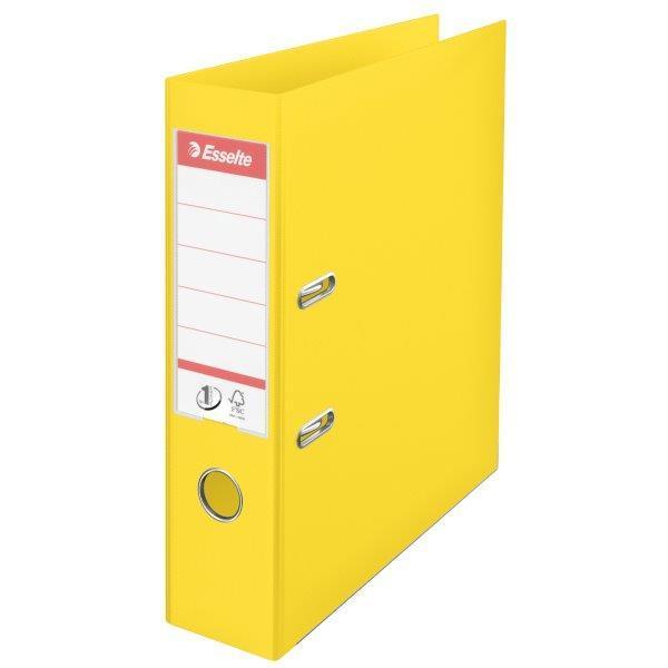Biblioraft ESSELTE No. 1 Power, A4, plastifiat PP/PP, margine metalica, 75 mm - Vivida galben 0