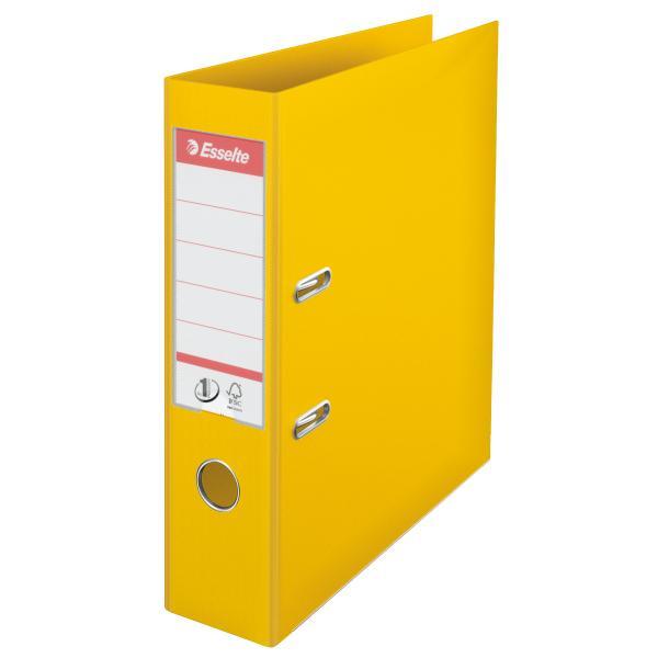 Biblioraft ESSELTE No. 1 Power, A4, plastifiat PP/PP, margine metalica, 75 mm - galben [0]