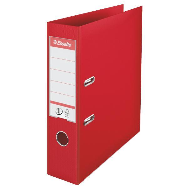 Biblioraft ESSELTE No. 1 Power, A4, plastifiat PP/PP, margine metalica, 75 mm - rosu [0]