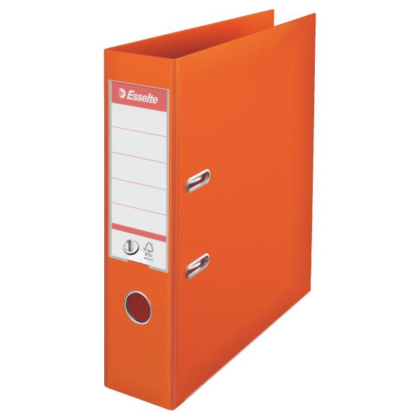 Biblioraft ESSELTE No. 1 Power, A4, plastifiat PP/PP, margine metalica, 75 mm - portocaliu [0]