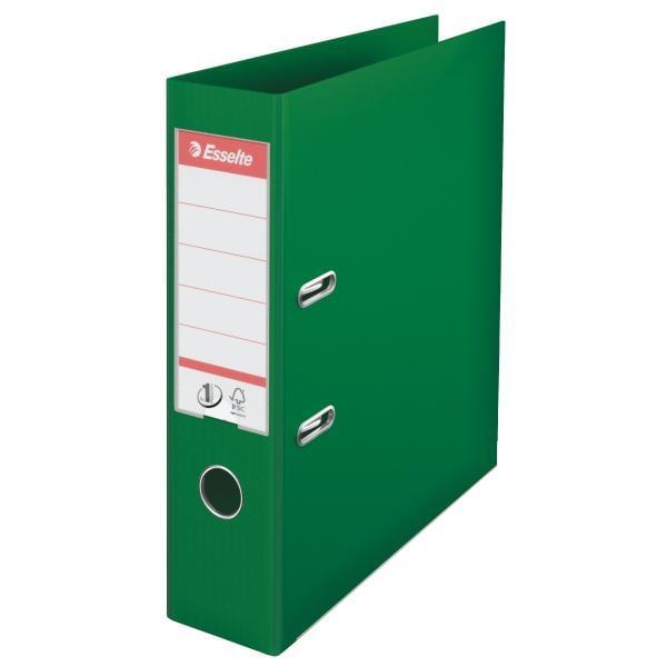 Biblioraft ESSELTE No. 1 Power, A4, plastifiat PP/PP, margine metalica, 75 mm - verde [0]