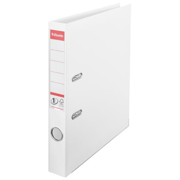 Biblioraft ESSELTE No. 1 Power, A4, plastifiat PP/PP, margine metalica, 50 mm - Vivida alb [0]