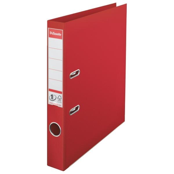 Biblioraft ESSELTE No. 1 Power, A4, plastifiat PP/PP, margine metalica, 50 mm - rosu [0]