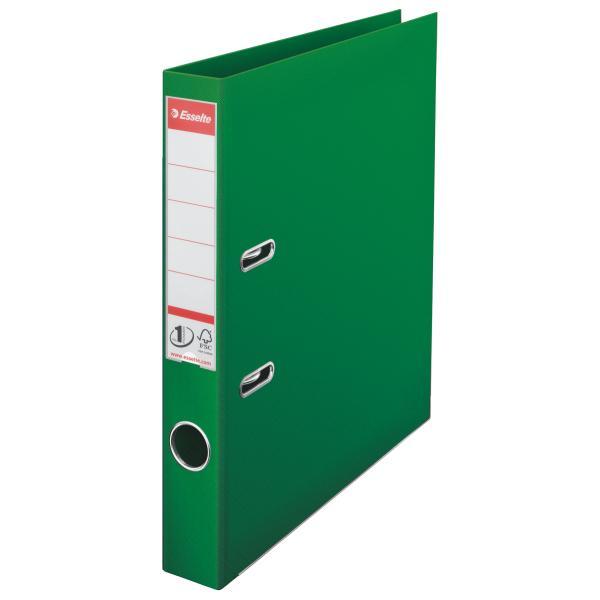 Biblioraft ESSELTE No. 1 Power, A4, plastifiat PP/PP, margine metalica, 50 mm - verde 0