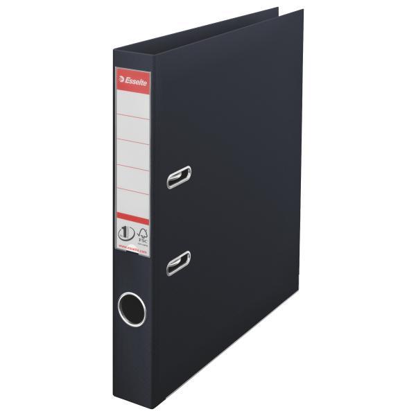Biblioraft ESSELTE No. 1 Power, A4, plastifiat PP/PP, margine metalica, 50 mm - Vivida negru [0]