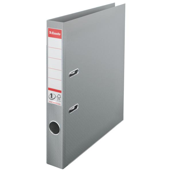 Biblioraft ESSELTE No. 1 Power, A4, plastifiat PP/PP, margine metalica, 50 mm - gri [0]
