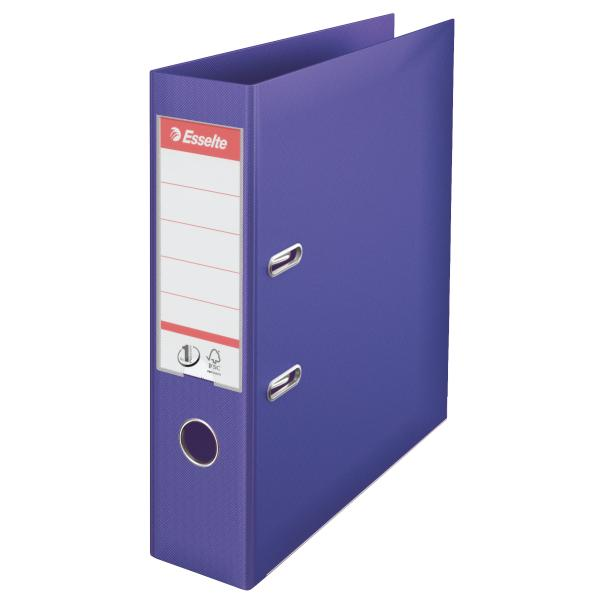Biblioraft ESSELTE No. 1 Power, A4, plastifiat PP/PP, margine metalica, 75 mm - mov [0]