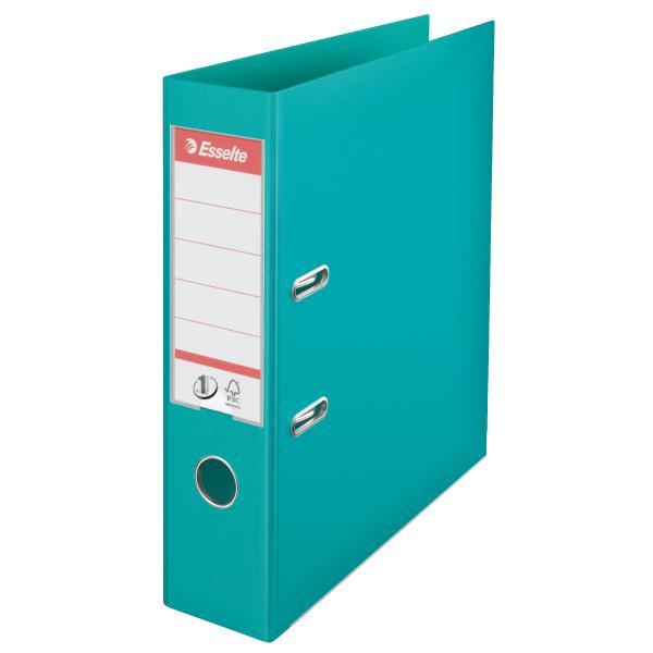 Biblioraft ESSELTE No. 1 Power, A4, plastifiat PP/PP, margine metalica, 75 mm - turcoaz 0