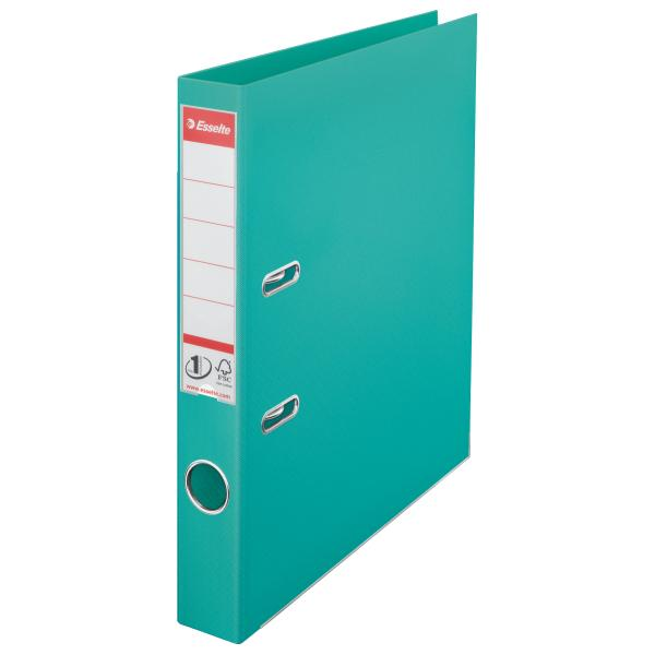 Biblioraft ESSELTE No. 1 Power, A4, plastifiat PP/PP, margine metalica, 50 mm - turcoaz 0