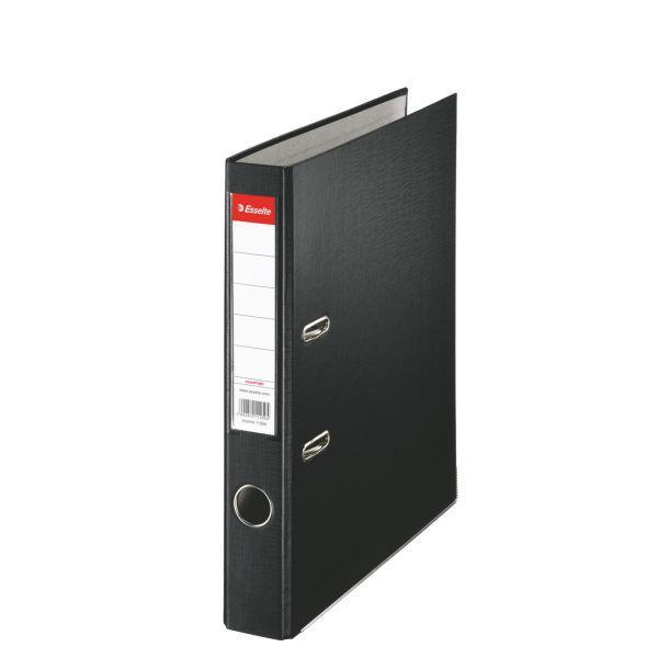 Biblioraft ESSELTE Economy, A4, plastifiat PP, margine metalica, 50 mm - negru 0