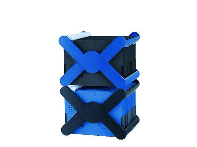 Suport plastic pentru 35 dosare suspendabile, cu capac, HAN X-Cross  Top - albastru [0]