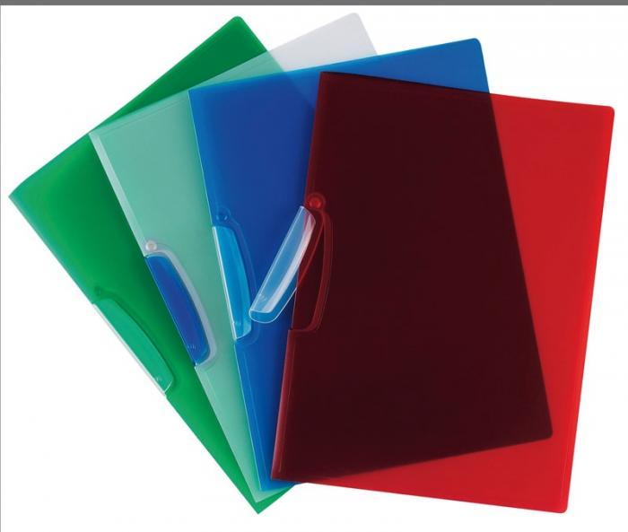 Dosar din plastic cu clema pivotanta, Q-Connect - verde transparent 0