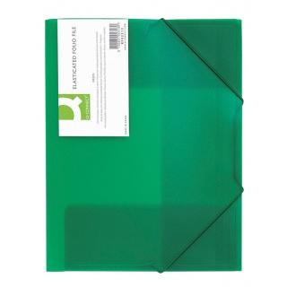 Mapa plastic cu elastic pe colturi, 400 microni, Q-Connect - verde transparent 0