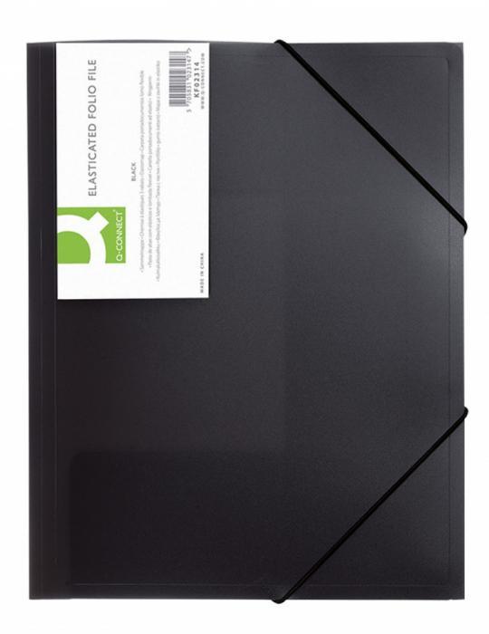 Mapa plastic cu elastic pe colturi, 400 microni, Q-Connect - negru transparent [0]