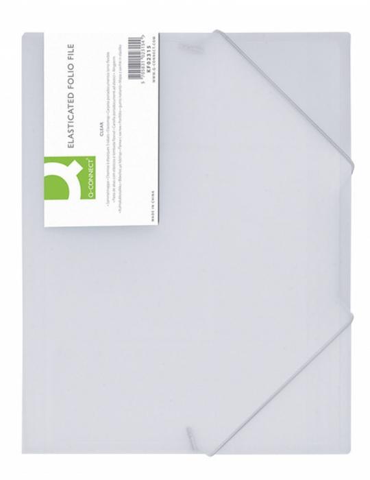 Mapa plastic cu elastic pe colturi, 400 microni, Q-Connect - alb transparent [0]