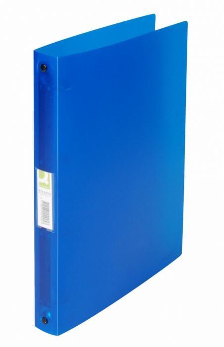 Caiet mecanic 4 inele - D25mm, coperti flexibile PP, Q-Connect - albastru transparent 0