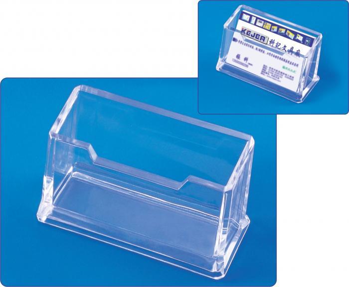 Suport plastic pentru 1 set carti de vizita, pentru birou, KEJEA - transparent 0