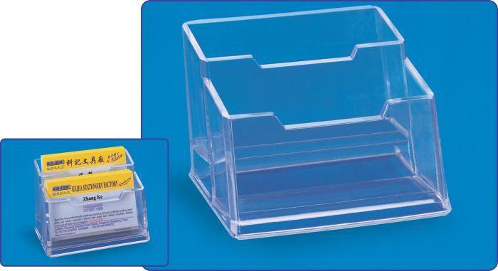 Suport plastic pentru 2 seturi carti de vizita, pentru birou, KEJEA - transparent [0]