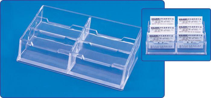 Suport plastic pentru 6 seturi carti de vizita, pentru birou, KEJEA - transparent [0]