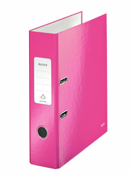 Biblioraft LEITZ 180 Wow, A4, 85mm, carton laminat - roz metalizat 0