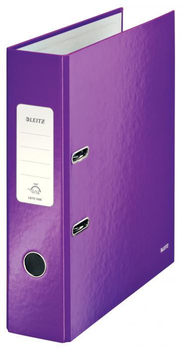 Biblioraft LEITZ 180 Wow, A4, 85mm, carton laminat - mov metalizat 0