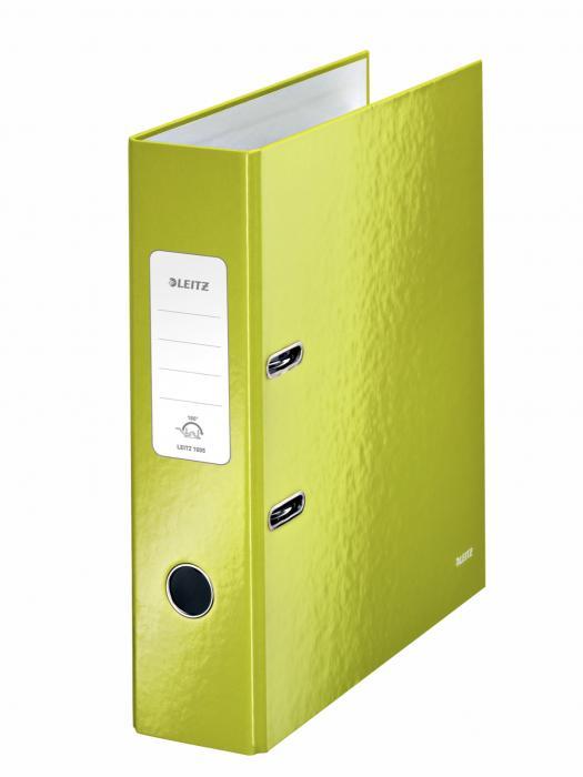 Biblioraft LEITZ 180 Wow, A4, 85mm, carton laminat - verde metalizat 0