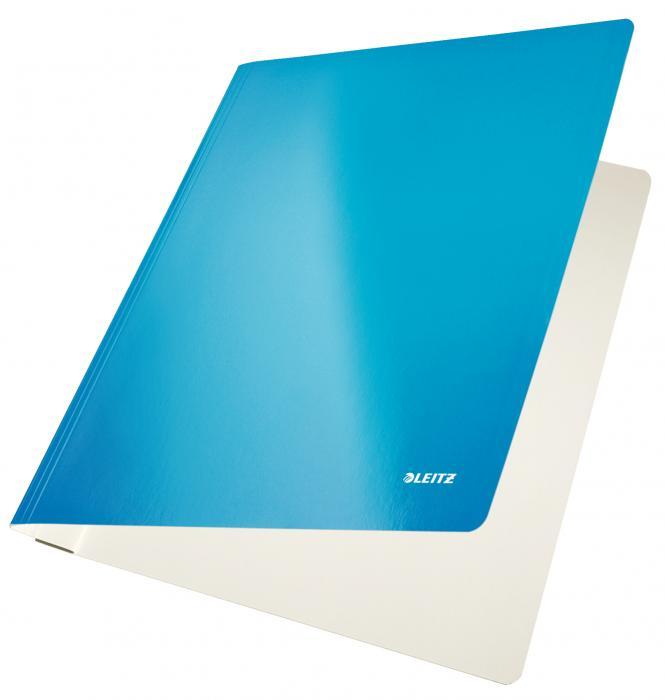 Dosar carton LEITZ Wow cu sina, capacitate 250 coli - albastru metalizat [0]