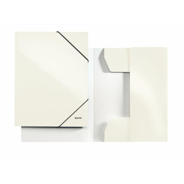 Mapa LEITZ Wow, carton cu elastic - alb metalizat [0]