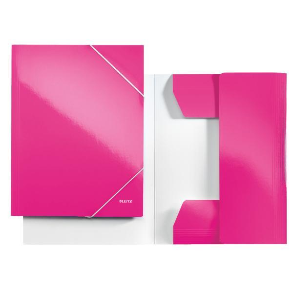 Mapa LEITZ Wow, carton cu elastic - roz metalizat [0]