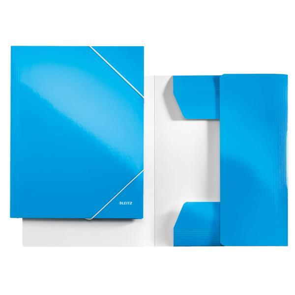 Mapa LEITZ Wow, carton cu elastic - albastru metalizat [0]
