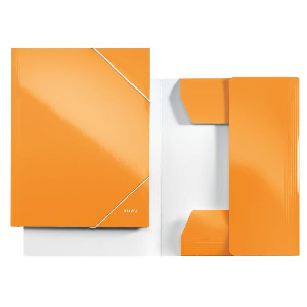 Mapa LEITZ Wow, carton cu elastic - portocaliu metalizat [0]