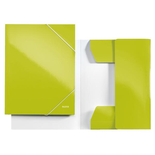 Mapa LEITZ Wow, carton cu elastic - verde metalizat 0