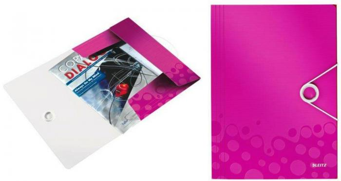 Mapa LEITZ Wow cu elastic, plastic PP - roz metalizat 0