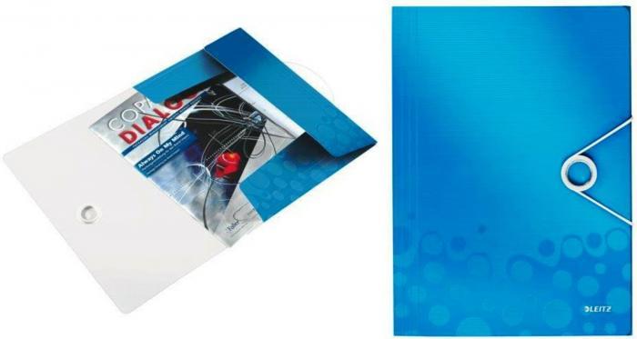 Mapa LEITZ Wow cu elastic, plastic PP - albastru metalizat 0