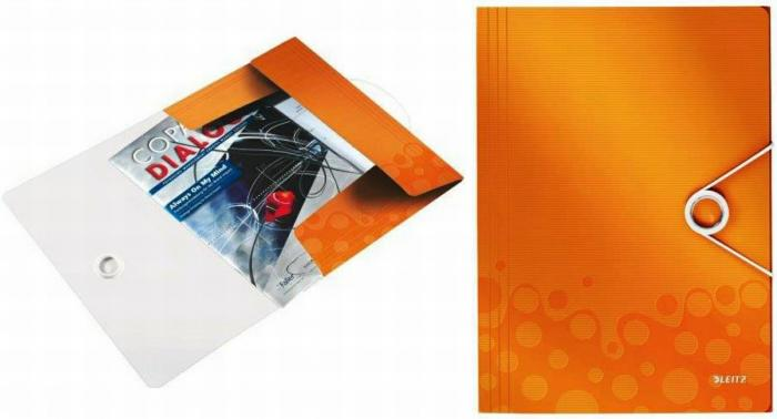 Mapa LEITZ Wow cu elastic, plastic PP - portocaliu metalizat [0]