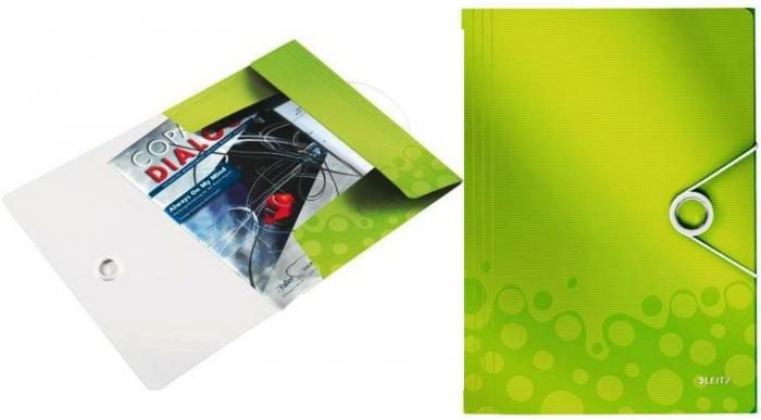 Mapa LEITZ Wow cu elastic, plastic PP - verde metalizat 0