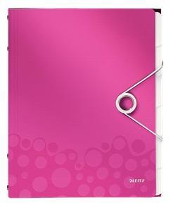 Mapa LEITZ Wow cu 12 separatoare, PP - roz metalizat 0