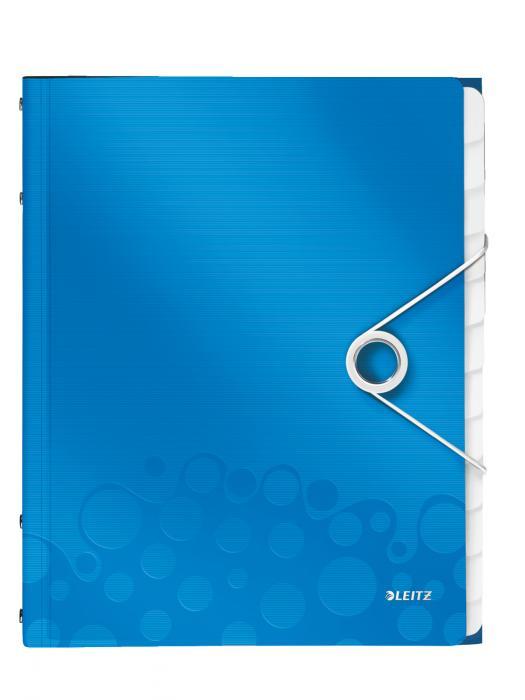 Mapa LEITZ Wow cu 12 separatoare, PP - albastru metalizat 0
