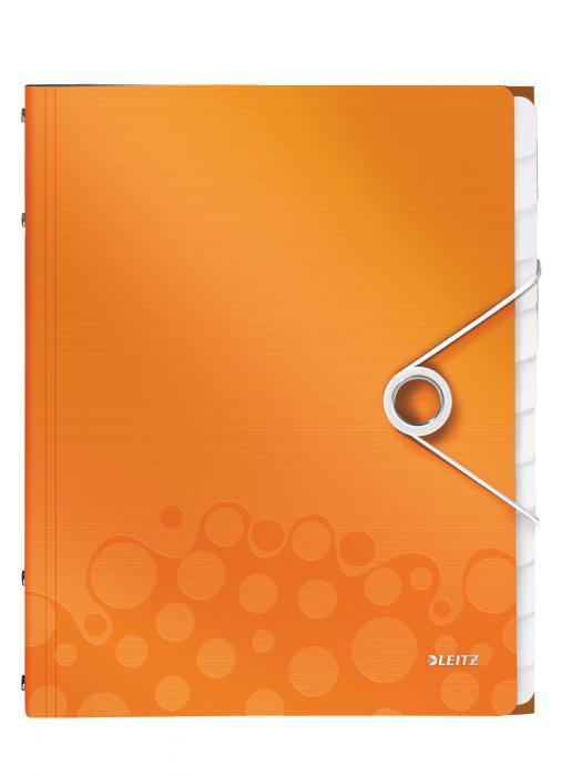 Mapa LEITZ Wow cu 12 separatoare, PP - portocaliu metalizat 0
