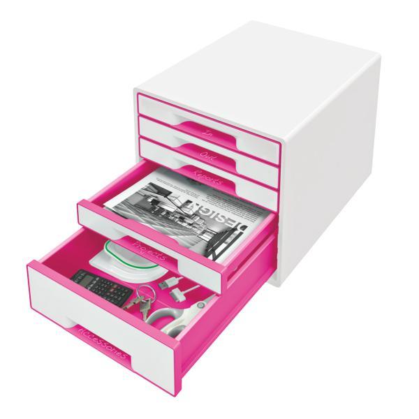 Cabinet cu sertare LEITZ Wow, 5 sertare - alb/roz [0]