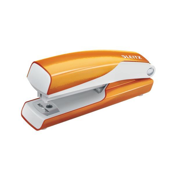Capsator metalic, LEITZ WOW 5528 Mini NeXXt Series, 10 coli, cutie - portocaliu metalizat 0