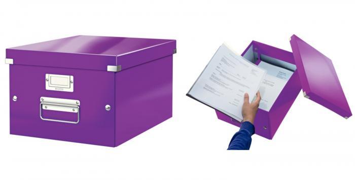 Cutie LEITZ Click & Store medie 281 x 200 x 369 mm, carton laminat - mov [0]