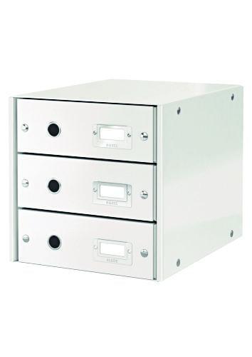 Suport cu 3 sertare, din carton laminat, LEITZ Click & Store - alb [0]