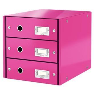 Suport cu 3 sertare, din carton laminat, LEITZ Click & Store - roz 0