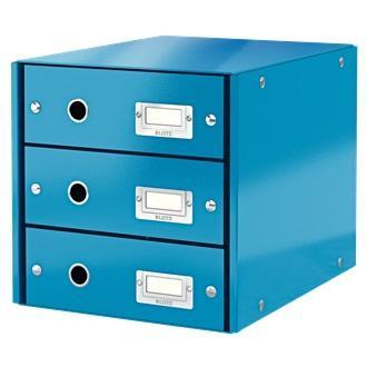 Suport cu 3 sertare, din carton laminat, LEITZ Click & Store - albastru [0]
